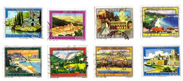 landscapes, monuments,villages stamps Royalty Free Stock Photos