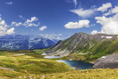 Landscapes Mountain Altai. Ayrykskie lakes, Russia. View from the top Royalty Free Stock Images