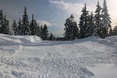 Landscapes mountain peak Canadian Vancouver. Canadian Winter is amazing Stock Photo
