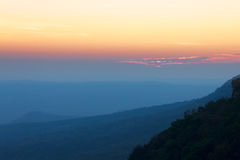 The landscapes mountain silhouette and sky or sunset Royalty Free Stock Images