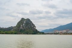 Landscapes, mountains around Seven-star Crags Scenic Area. At Zhaoqing, China royalty free stock images