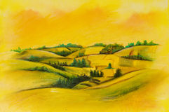 Landscapes on oil canvas. Summer scene of landscapes, this is oil painting and I am author of this image Stock Photos
