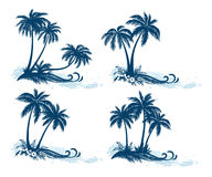 Landscapes, Palm Trees Silhouettes Royalty Free Stock Images