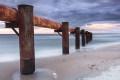 Landscapes of Poland. Sunset at Baltic sea. Royalty Free Stock Photos
