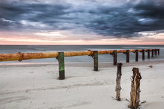 Landscapes of Poland. Sunset at Baltic sea. Stock Photography
