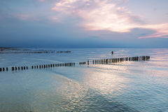 Landscapes of Poland. Sunset at Baltic sea. Stock Image