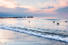 Landscapes of Poland. Sunset at Baltic sea. Royalty Free Stock Image