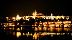Landscapes of Prague. Night landscape of Prague. Background Stock Photo
