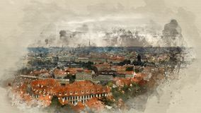 Landscapes of Prague. Watercolor background Stock Photo