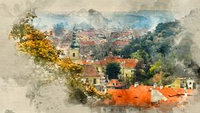 Landscapes of Prague. Watercolor background Stock Images