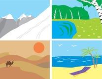 landscapes primitiv stil vektor illustrationer