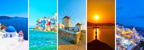 Landscapes of Santorini and Mykonos stock photography