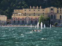 Surf-Riva del Garda lake Italy stock photography