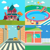 Landscapes Set. Countryside Landscape. Outside Swimming Pool, Cityscape Stock Images