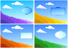 Landscapes set - field and clouds. Set covers of notebook, landscape with field, background with frame for positive motivation text Royalty Free Stock Images