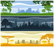 Landscapes with urban buildings Royalty Free Stock Images