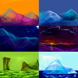 Landscapes. Six sketches of landscapes of sea, mountains swamp Stock Images