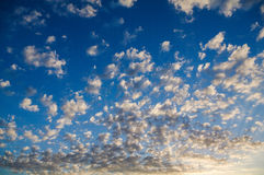 Landscapes. Sky. Spectacular blue sky with cirrus clouds Stock Photos