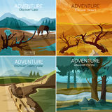 Landscapes travel 4 flat icons square Stock Photo