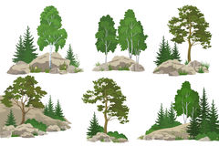Landscapes with Trees and Rocks Stock Images