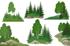 Landscapes with Trees and Rocks Royalty Free Stock Image