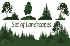 Landscapes with Trees Silhouettes Royalty Free Stock Photo