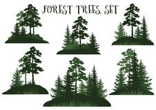 Landscapes with Trees Silhouettes Royalty Free Stock Photos