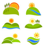Landscapes vector icons. Landscape nature icons with suns and hills for design.Vector  illustration Royalty Free Stock Image