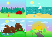 Landscapes with views of forests, mountains, sea, highway. Space for recreation and travel in summer: forest, sea, mountains, lake, road vector illustration
