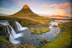 Landscapes and waterfalls. Kirkjufell mountain in Iceland royalty free stock photos