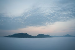 Landscapes. Winter landscapes, vantage point to see the sunrise in the morning Stock Image