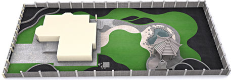 Landscaping aerial perspective, 3d rendering Royalty Free Stock Image