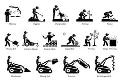 Landscaping And Horticulture Icons. Stock Image