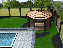Landscaping arbor and poolside aerial view, 3D render. Natural character of the site into the design. Green design features Royalty Free Stock Image