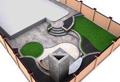 Landscaping backyard high angle view, 3D render. Natural character of the site into the design. Green design features Stock Photo