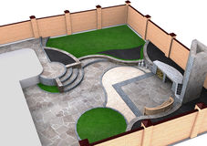 Landscaping backyard isometric view, 3D render Stock Image