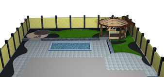 Landscaping backyard pool and arbor isometric view, 3D render. Natural character of the site into the design. Green design features Stock Image