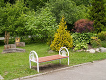 Landscaping with a bench Royalty Free Stock Photography