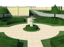 Landscaping classic style topiary, 3D render. Three dimensional visualization of homestead landscape design french style Stock Photo