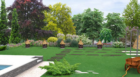 Landscaping country style decorative beehives, 3D render. Natural character of the site into the design. Green design features. Example of rustic style Royalty Free Stock Photo