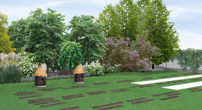 Landscaping country style garden planting of greenery, 3D render. Natural character of the site into the design. Green design features. Example of rustic style Stock Photo