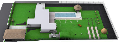Landscaping country style isometric view, 3D render. Natural character of the site into the design. Green design features. Example of rustic style landscaping Stock Photo