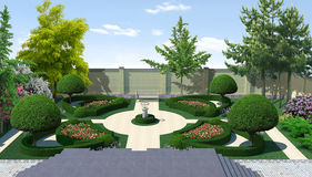 Landscaping courtyard classic style, 3D render. Three dimensional visualization of homestead landscape design french style Stock Photography
