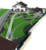 Landscaping estate perspective, 3D render. Natural character of the site into the design. Site development plan Royalty Free Stock Image