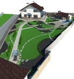 Landscaping estate perspective, 3D render Royalty Free Stock Image