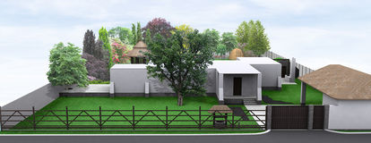 Landscaping front yard country style, 3D render Royalty Free Stock Photos