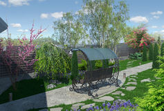 Landscaping garden alley, 3d render. Artistic characteristics of planning an outdoor garden. Formal landscape style with clean lines and crisp angles Royalty Free Stock Photo