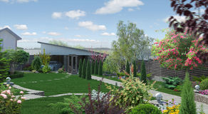 Landscaping garden alley, 3D render. Natural character of the site into the design. Trees and shrubs of various shapes and sizes Royalty Free Stock Image