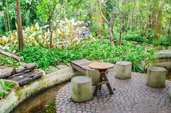 Landscaping in the garden. The chair in the garden Stock Photography
