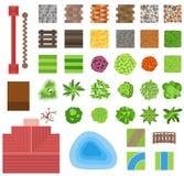 Landscaping garden design elements. Landscaping plants, landscaping trees vector icons . Landscaping plan vector elements icons. Landscape garden design Stock Photos
